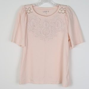 LOFT Lace Blush Ruched Puffed Shoulder Tee, Top S